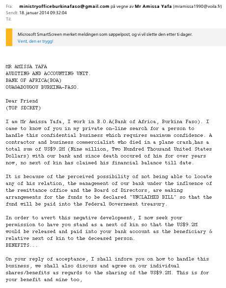 Seriously - someone still falls for this??!! #Nigeria letter no. 28