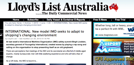 Provoking and challenging the industry, and attracting attention all the way down under. June 2013, Lloyd´s List Australia